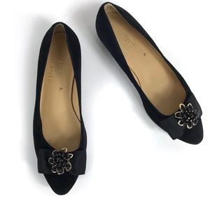 Talbots RSVP Black Bow Suede Flat with Jewels